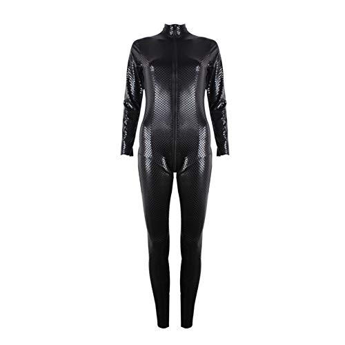 WWC Disfraces Sexy de latex - Mujeres Latex Negro de Cuero de imitacion Entrepierna Abierta Cuerpo de PVC Catsuit de latex con Cremallera Lenceria Sexy (Black)