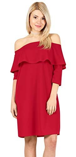 Pack Reg - Womens 3/4 Sleeve Reg and Plus Size Off The Shoulder Cocktail Dress Ruffle Shift Dress - Made in USA (Size Large US 10-12, Red)