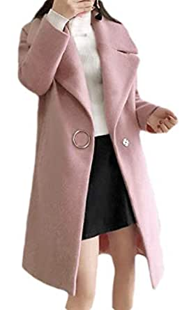 Macondoo Womens Outwear Autumn Winter One Button Wool Blended Pea Coat Jacket Pink XS