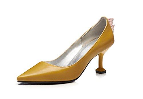 Party Peep Heels Blink Braut LUCKY Dating Fersen Luxus Damen A Yellow Klassische High Schuhe Prinzessin Schuhe Toe Kleid CLOVER Kätzchen Damen Sandalen Büro 44xnzqvfH