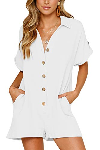 - For G and PL Womens Loose Casual Summer Short Sleeve Jumpsuit Button V Neck Henley Pocket Romper White XL