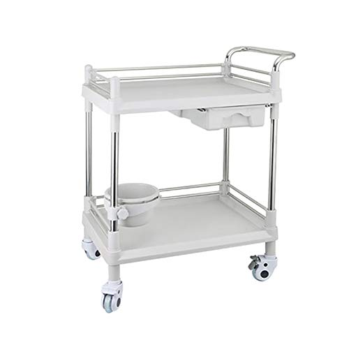 Utility Carts 2 Shelf Medical Cart Beauty Spa Lab Storage Trolley with 1 Drawer and Handrail, Plastic ABS & Stainless Steel - Gray Size : - Steel Rail Spa Stainless