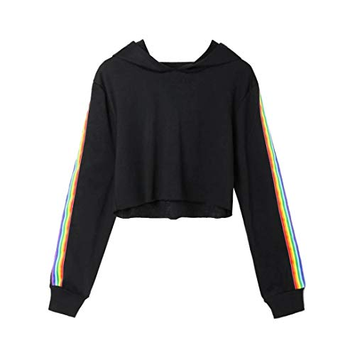 Women Hoodie Rainbow Print Long Sleeve Casual Sweatshirt Loose Hooded Jumper Top(C,Large
