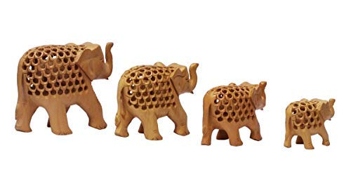 Craftngifts Weekend Sale - Jaali Art Wooden Elephant Statues Set of 4 - Elephant Figurines Ornament Living Room/Table Top/Housewarming Gifts/Home Decor Accessory ()