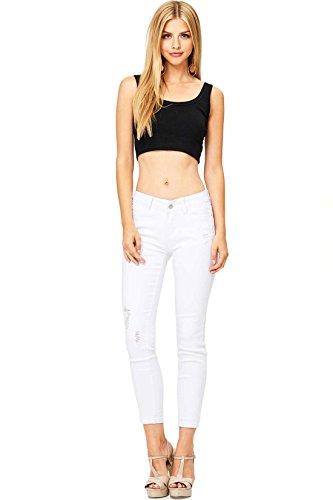 Wax Denim Womens Juniors Ankle Jeans w Rough Ankle Hem