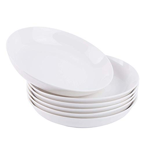 Cutiset 8 Inch Porcelain Salad/Pasta/Fruit Plates, Set of 6, White, Shallow & Wide (8-inch, Round)