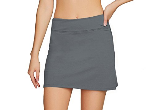 Cityoung Women's Casual Pleated Golf Skirt with Underneath Shorts Running Skorts s grey1