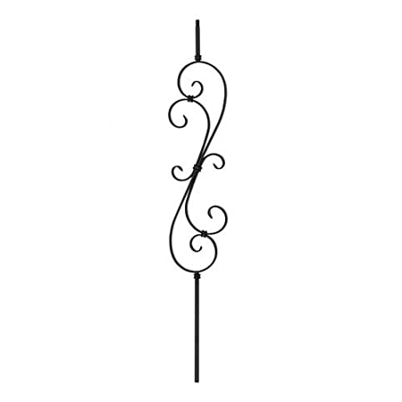 Wrought Iron Black 25 3//4 Double S-Scroll Design Indital PC20-1-0007 Powder Coated Wrought Iron Baluster for Stairs and Railings 44 3//32 H x 7 9//32 W x Scroll 1//2 x 1//4