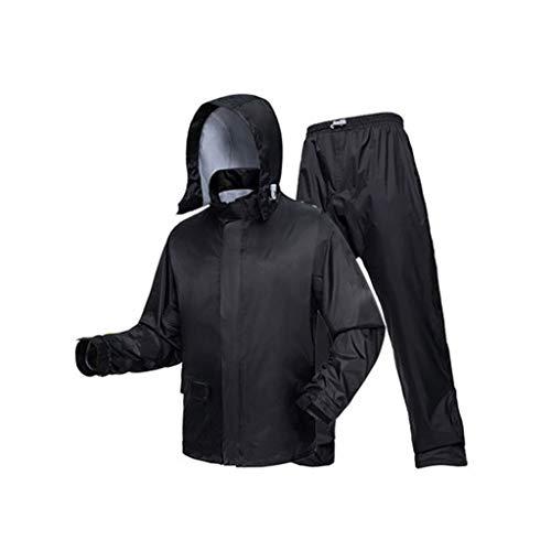 Goquik Rainstorm Raincoat Rain Pants Suit Male Split Thick Double Raincoat Outdoor Body Waterproof Raincoat (Color : Color Crystal Black, Size : L)