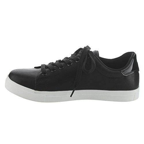 Low Black Stitched Up Insects EI33 Heel Padded Top Collar Womens Lace Sneakers Betani qFwY7Cx