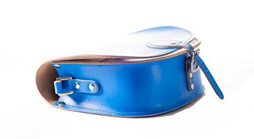 Helle blaue echte Leder-Sattel Crossbody Handtasche mit Wšlbungs-Verschluss und justierbarem BŸgel