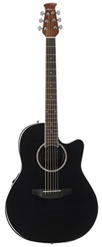 Ovation Applause 6 String Acoustic-Electric Guitar, Right, Black, Mid-Depth (AB24II-5)