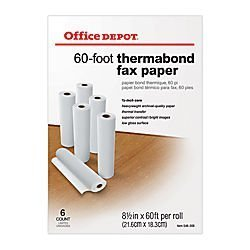 Office Depot(R) Thermabond Fax Paper, 1/2in. Core, 60ft. Roll, Box Of 6 Rolls