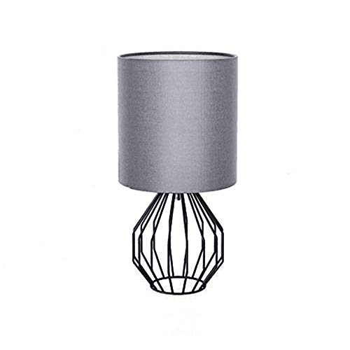 KIRIN Table Lamp Plug in Modern Style Geometric Black Painted Metal Wire Cage Hollow Lamp Base E26 with Grey Fabric Drum Lamp Shades for Living Room, Bedroom, Night Stand, Side Table