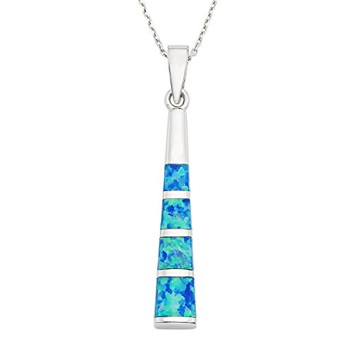 Beaux Bijoux Sterling Silver Created Blue Opal Bar Pendant with 18