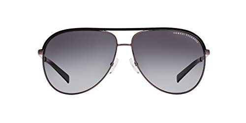Armani Exchange Unisex-Adult Metal Unisex Sunglass 0AX2002 Polarized Aviator Sunglasses, GUNMETAL/BLACK, 61 ()