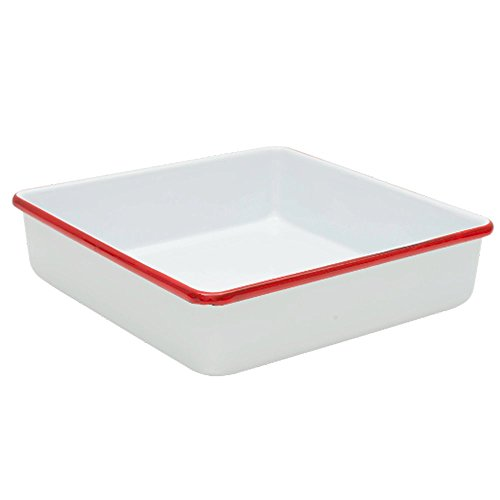 Enamelware Square Brownie Pan, 9 inch, Vintage White/Red -