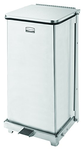 Rubbermaid Commercial FGST12SSRB The Defenders Steel Step Trash Can with Retaining Band, 12-gallon, Stainless Steel by Rubbermaid Commercial Products