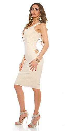 WeaModa - Vestido - Estuche - Sin mangas - para mujer Beige