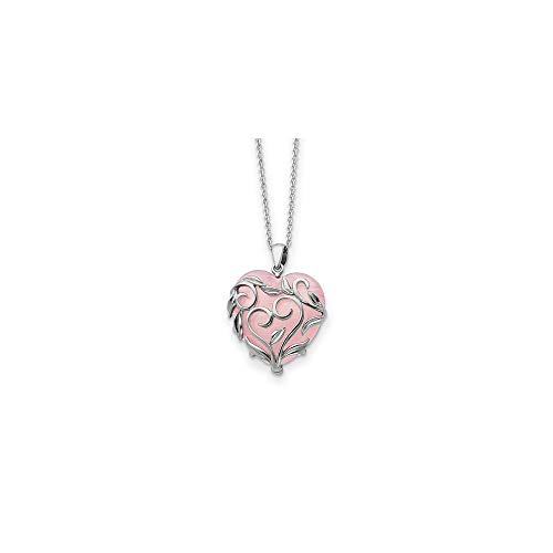 925 Sterling Silver Rose Quartz Generous Heart 18 Inch Chain Necklace Pendant Charm S/love Natural Stone Inspirational Fine Jewelry Gifts For Women For Her