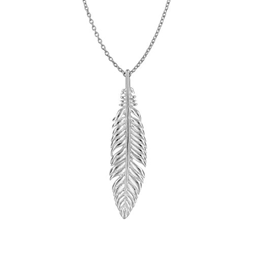 (Sterling Silver Small Feather Pendant Necklace, 18
