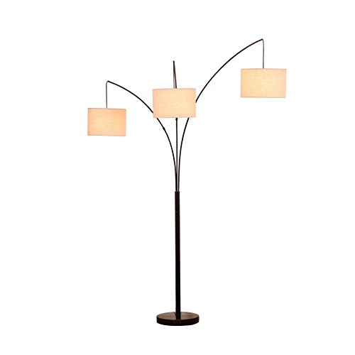 Adjustable Shaded Floor Lamp - Brightech Trilage - Modern LED Arc Floor Lamp with Marble Base – 3 Hanging Lights, Great For Reading - Free Standing, Behind The Living Room Couch Uplight & Downlight- Black