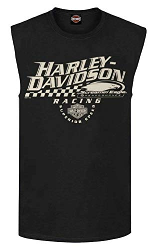 - Harley-Davidson Men's Screamin Eagle Racing Sleeveless Tee, Black R003411 (L)