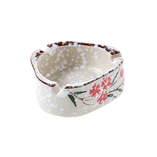 Sanhong Elegant Hand-Painted Flower Ceramic Triangular Cigarette Ashtray Tabletop Ash Tray Holder for Home Office Decoration (Snowflake B)