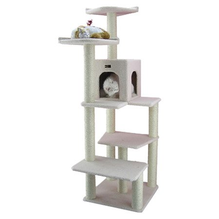 Modern Cat Tower in Ivory Cat Tree Furniture with Condo, Scratching Posts & Beds