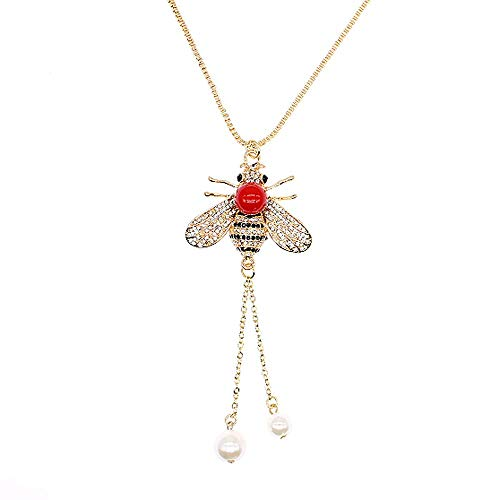 TULIP LY Honey Bee Necklace Crystal Insect Themed Bee Necklace Animal Fashion Shell Pearl Long Necklaces Gold Tone for Women Gril Jewelr (Red Pearl Necklace)