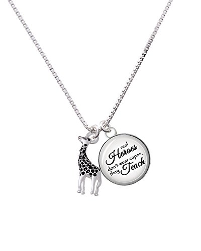 Silvertone Giraffe Heroes Teach Necklace product image