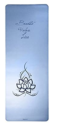 "Platinum Sun 73""x27"" 4mm-thick Luxury, High end Eco-friendly PU natural rubber Blue Yoga Mat. Laser edge anti-friction, Anti-slip and Wet Absorbent"