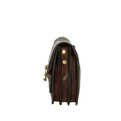 de Aren bolsa Marron 25x18x7 hombre Made cuero del in Italy Oscuro Cm auténtico Hombro ZrgqrnI