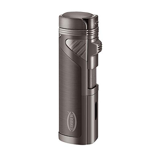 Torch Lighter Punch - Cobber Torch Cigar Lighter, Quad 4 Jet Red Flame Refillable Butane Cigar Lighter with Punch, Gunmetal Gray