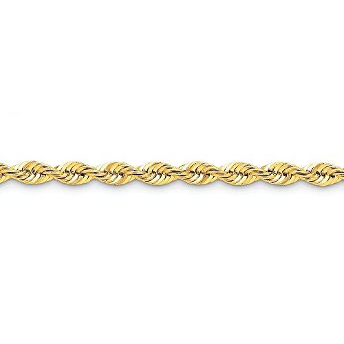 """14 carats - 6 mm-Tige régulière-Bracelet chaine de corde à la main - 8 """"- Fermoirs-Mousquetons JewelryWeb"""