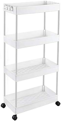 SPACEKEEPER Storage Cart 4-Tier Slide Out Rolling Utility Cart Storage Organizer Shelf Rack Mobile Shelving with 4 Storage Baskets for Kitchen Living Room Bathroom Laundry Room /& Dressers