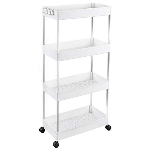 SPACEKEEPER Storage Cart, 4-Tier Mobile Shelving Unit, Bathroom Rolling Cart Utility Storage Organizer Shelf for Kitchen…