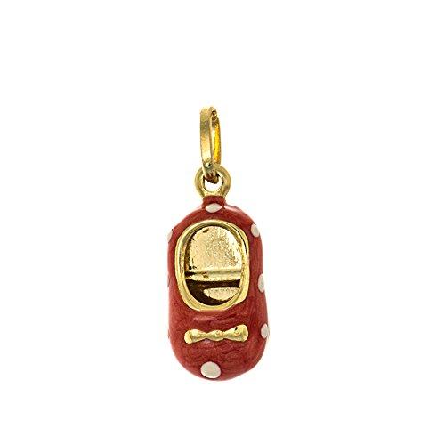 14k Yellow Gold Novelty Charm Pendant, Orange Enamel Little Girl Shoe with White Polka Dots, Mary Jane