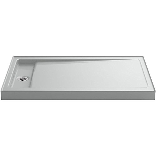 KOHLER K-9177-0 Bellwether 60-Inch X 34-Inch Single-Threshold Shower Base with Left Center Drain, White (Shower Rectangular Base Threshold Single)