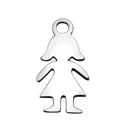 Fashewelry 10Pcs Stainless Steel Girl Silhouette Charms 14x7.2mm Blank Metal Pendants for DIY Jewelry Craft -