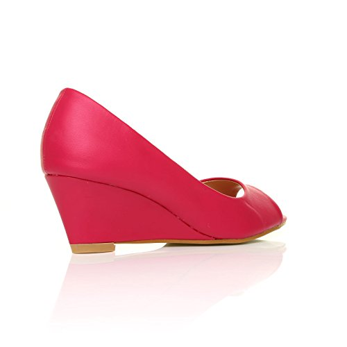 HONEY Fuchsia PU Leather Wedge Mid Heel Peep Toe Shoes 7dnP0xn