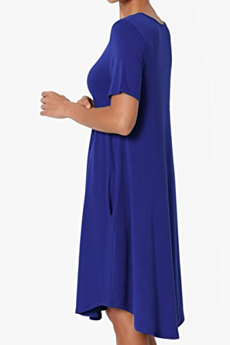 Blue Shirt Dress TheMogan Pocket Denim T Sleeve Jersey Stretch Basic Short Trapeze Loose wqzv7w