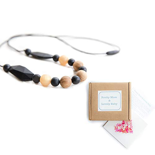 'Oak Beads' New Teething Necklace, Gift Box & Greeting Card; Natural Organic Oak Wood & Silicone Beads Jewelry - Black