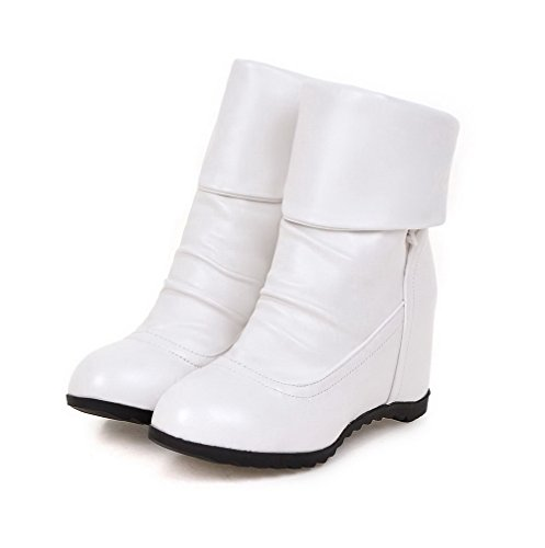 White Women's Pile Heels Solid AgooLar Round Lower Pull Boots High Toe On ABP1RF
