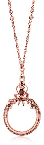 (1928 Jewelry Smoked Brown Copper-Tone Magnifying Glass Necklace, 30