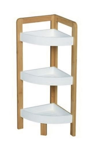 Bamboo 3 Tier Bathroom Corner Mdf Caddy Shower Shelves Standing Tidy