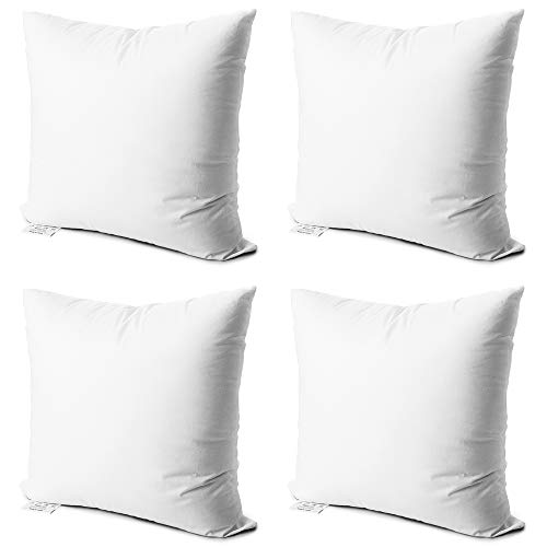 (Edow Throw Pillow Inserts,Set of 4 Soft Hypoallergenic Down Alternative Polyester Square Form Decorative Pillow, Cushion,Sham Stuffer,Cotton Cover. (White, 18x18))