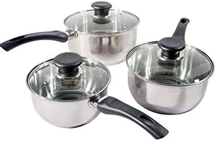 3Pc Stainless Steel Saucepan Cookware Pot Set New