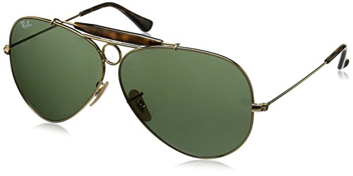 Ray-Ban SHOOTER RB3138 Non-Polarized Aviator Sunglasses,  GOLD / CRYSTAL GREEN,  - Ray Ban Rb3138