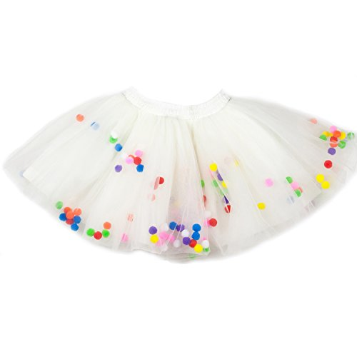 Moomintroll Baby Toddlers Girls Pettiskirt Dress 4 Super Soft Layers Rainbow Pom Pom Puff Balls Tutu Skirt with Headband (6-12 Months, ()